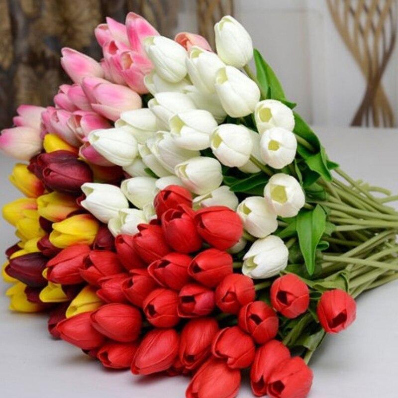 10 unids/lote PU único pequeño tulipán de seda artificial flores de simulación p