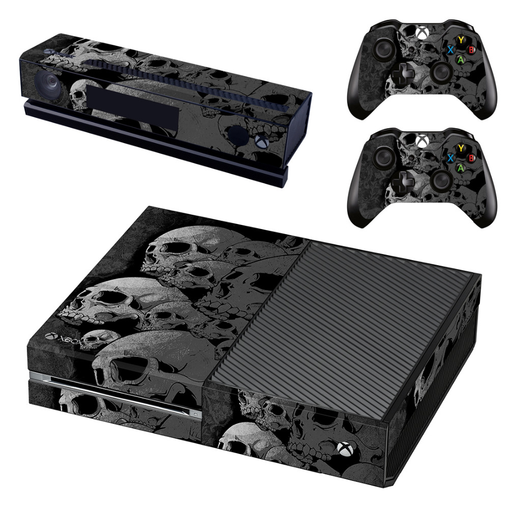 Gray Skull Skin Sticker for Microsoft Xbox One Kinect and Console and 2 Controllers Vinyl Game Stickers