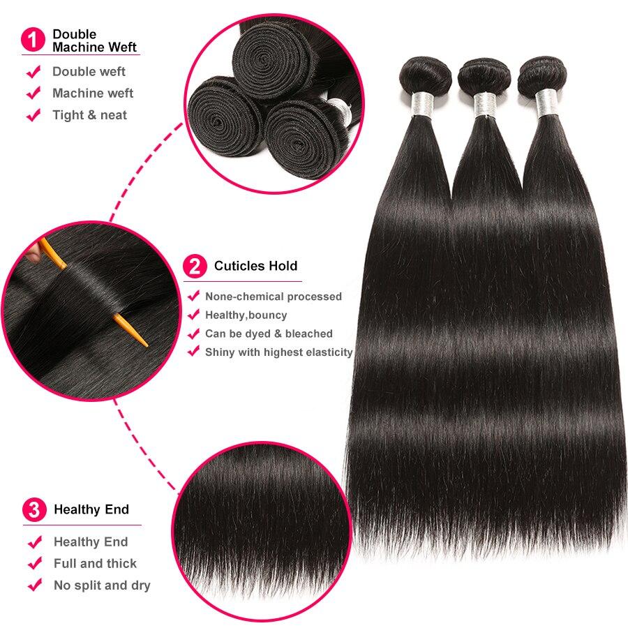 Հրաշք աղջիկ Ուղիղ մազի կապոցներ 100% - Մարդու մազերը (սև) - Լուսանկար 5