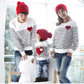 Family Matching Clothing 2016 Soft Cotton Shirt Love Stripe Family Look Style Father Mother Son Matching Mother Daughter Clothes