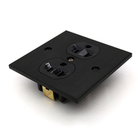 Free shipping one piece US AC power Receptacles wall outlet audio grade copper made socket Duplex Plate 86mm*86mm black