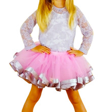 2016 Fashion Girls Skirts Pink Chiffon Tutu Skirts Baby Girl Birthday Pettiskrit Party Ball Gown Ballet Skirt Performance Cloth
