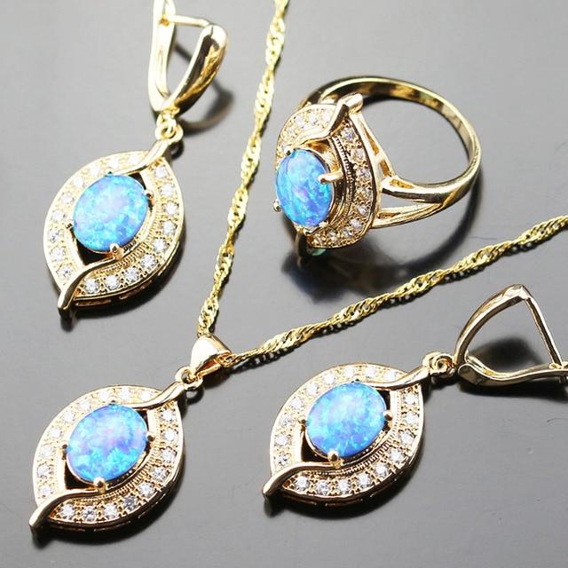 Australia Blue Opal Bridal Jewelry Set For Women Gold color White