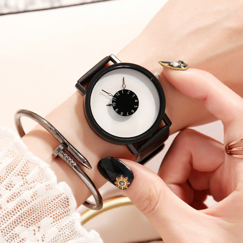 Hot Fashion Creative Watches Women Men Quartz-watch 2018 Brand Unique Dial Design Lovers' Watch Leather Wristwatches Clock