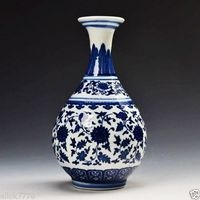 Chinese antique Blue and white Hand painted Porcelain Vase Qing Dynasty Qianlong Mark Home decoration Vase