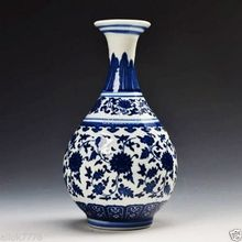 Chinese antique Blue and white Hand-painted Porcelain Vase w Qing Dynasty Qianlong Mark