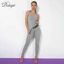 Didiopt Yoga Suit Tracksuit for Women Grey Sleeveless Fitness Suit Backless Sportwear 2 Pieces Set Conjuntos Deportivos S1378Y