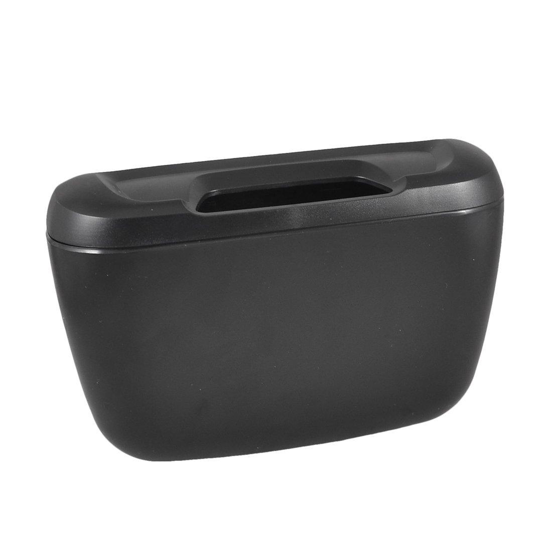 Black Plastic Vehicle Auto Goods Car Trash Bin Garbage Box w Hook