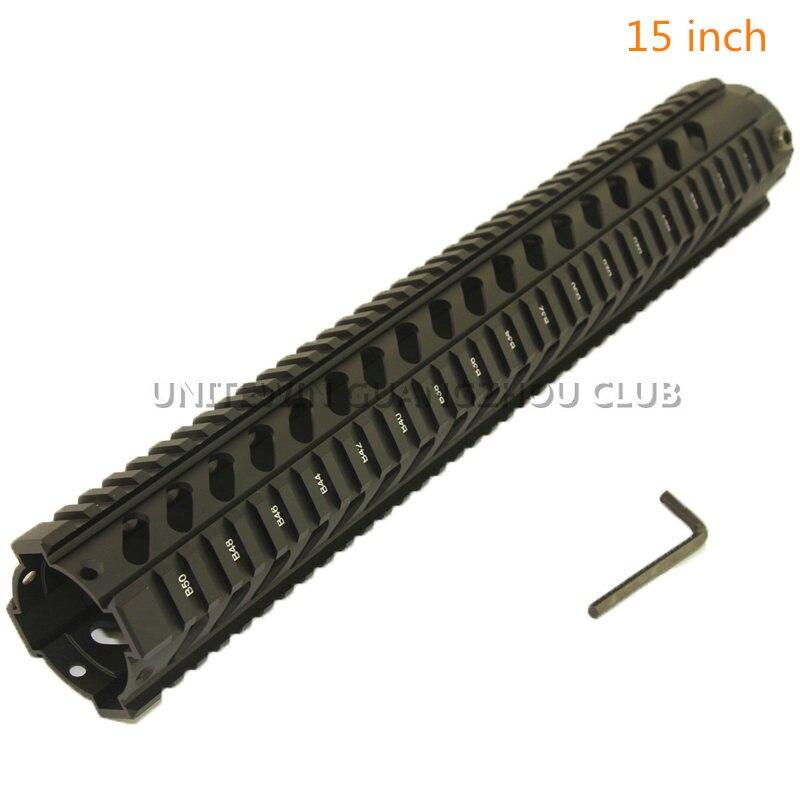 Chasse tactique AR-15 M4 10,12, 15 pouces Handguard carabine RIS Quad Rail 2 pièces Drop-In Picatinny fusil de montage