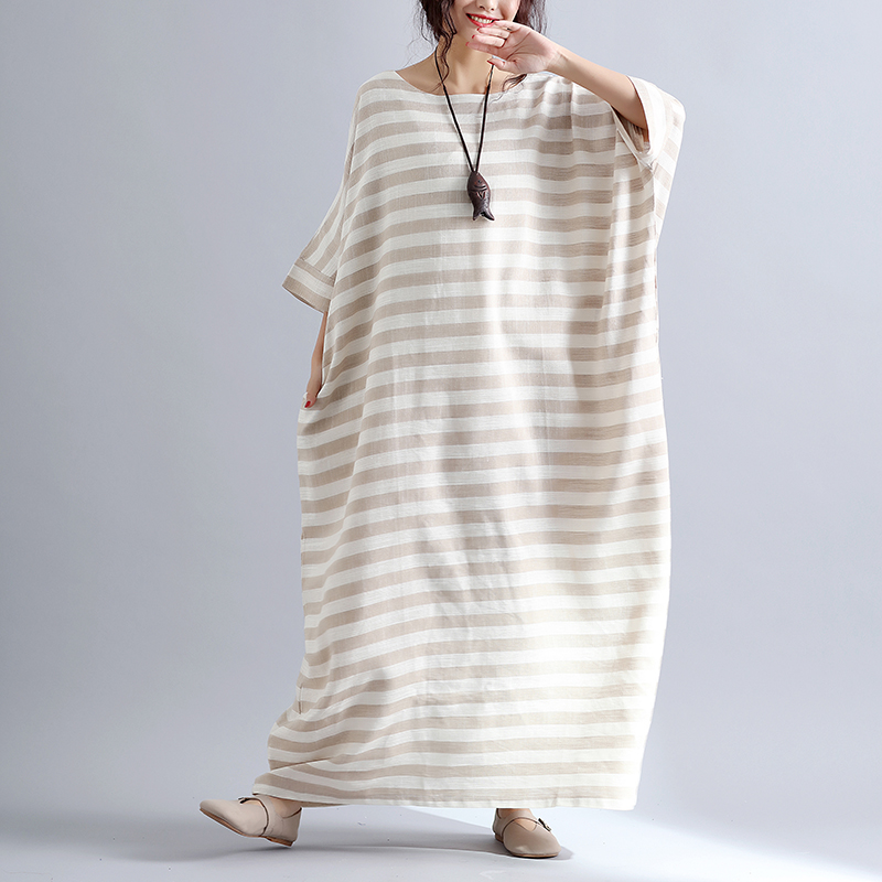 e4b3665a89 Plus Size 5XL NEW Summer Women Elegant Vintage Striped Cotton Linen Tops  Lady Female Large Big Long Casual Oversized Robe Dress-in Dresses from  Women s ...