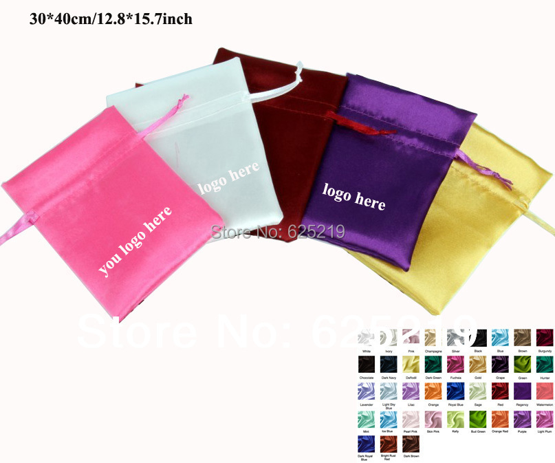 30*40cm/11.8*15.7inch soft satin drawstring bag gift packaging wedding pouch one color or mix color 25pcs/lot  for sale