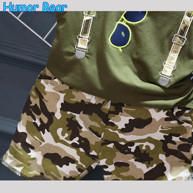 Humor Bear 2018 Summer Children Boy Clothes Sets Kids 2pcs Sleeveless T-Shirt Toddler Suits Camo Shorts Child Clothing