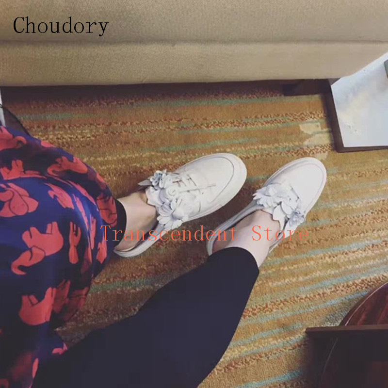 Choudory Genuine Leather Women Shoes Fashion Slip On Round Toe White Flat Shoes Spring Autumn Sweet Flower Decorated Slippers