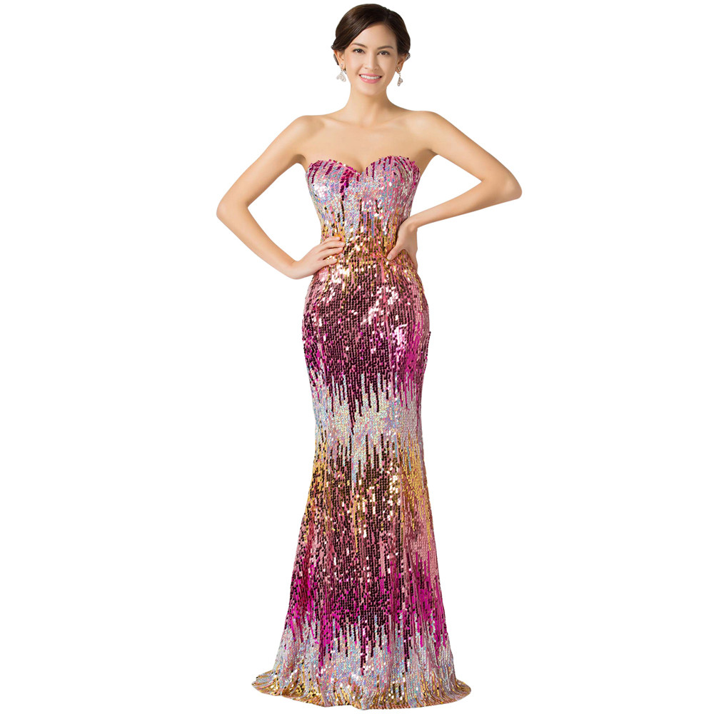 Sweetheart Colorful Sequins Lace Evening Dress 11