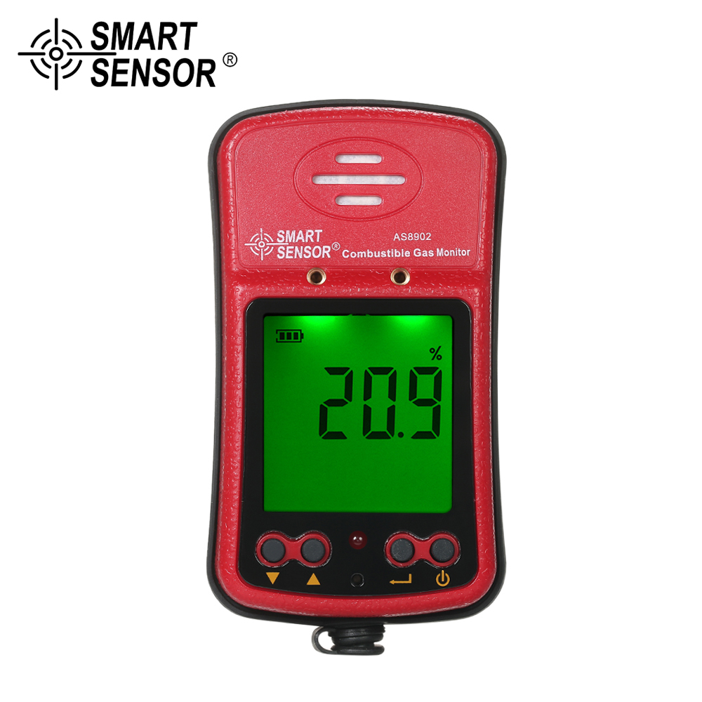 SMART SENSOR Mini Combustible Gas analyzer Digital Automotive Gas Leak Tester Gas detector Sound Light Vibration Alarm 100-240V