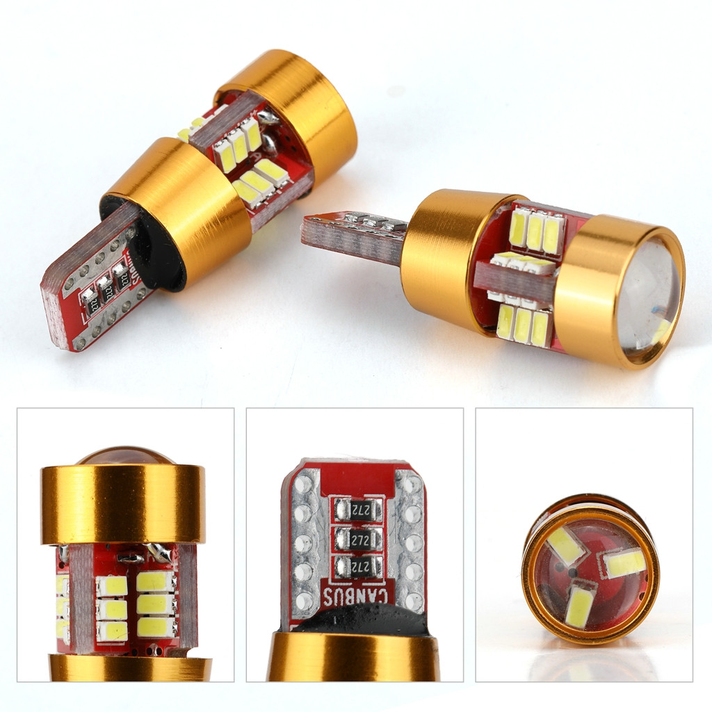 Image 5 - 2 Pieces Car T10 Wedge 4014 27 SMD LED License Plate Map Dome Lights Gold LED Light Bulbs For Cars Width Reading Panel Lights-in Signal Lamp from Automobiles & Motorcycles