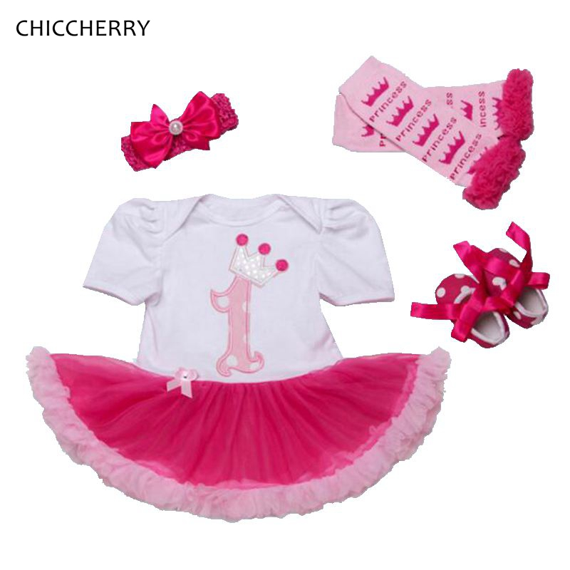 1 Year Girl Baby Birthday Dress Headband Crib Shoes Leg Warmers 4PCS Tutu Sets Toddler Birthday Outfits Conjunto Infantil Menina