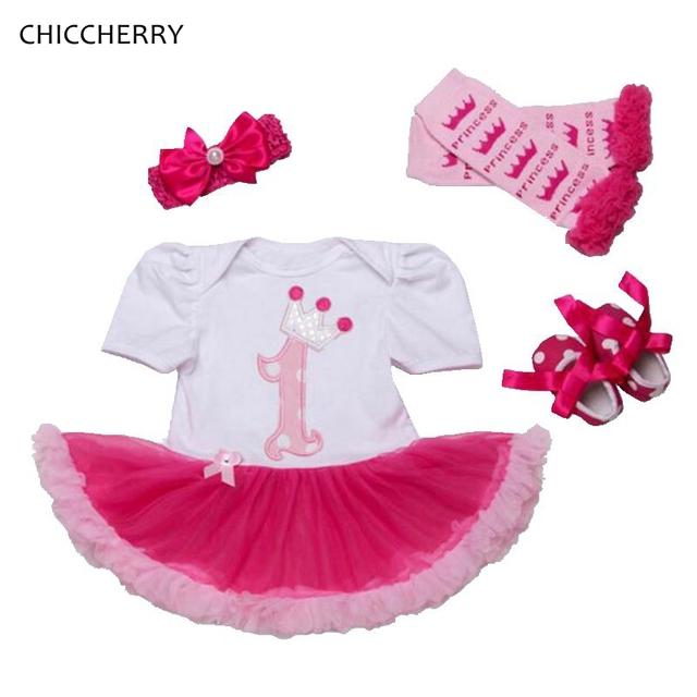 1 ano de aniversário baby girl dress headband crib shoes polainas 4 pcs tutu conjuntos de roupas de aniversário da criança conjunto infantil menina