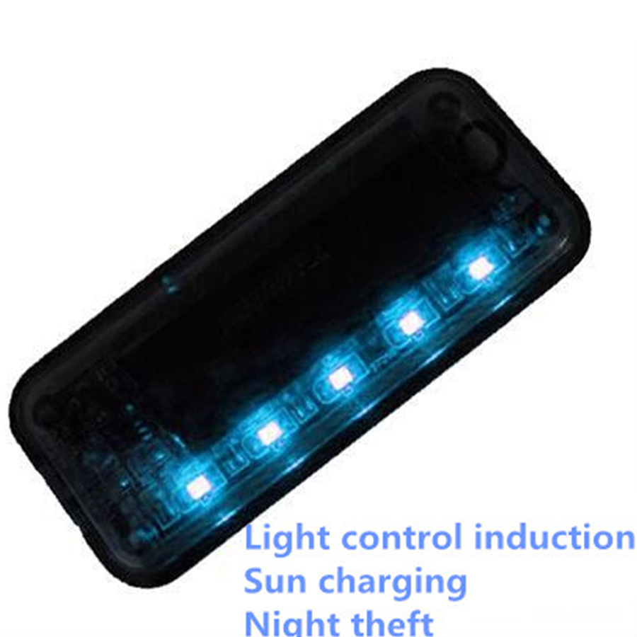 Auto Anti-Theft Fake Simulated Solar Vibration 6-Blue LEDs Light Car Alarm Security Flash Burglar Deterrent 6 led waterproof solar animal repeller predator deterrent light