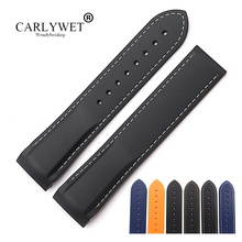 CARLYWET 20 22mm Wholesale High Quality Rubber Silicone Replacement Watch Band Strap Belt For Planet Ocean 45 42mm