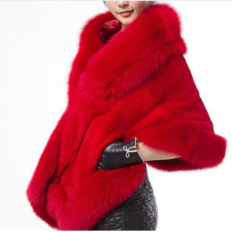 new Winter lady warmth Imitation fox furs coat cloak imitation mink fur women shawl