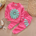 Осень дети одежда девушка с длинным рукавом вс цветок рубашка + пант набор 2 шт. детская одежда костюм 5 цвета