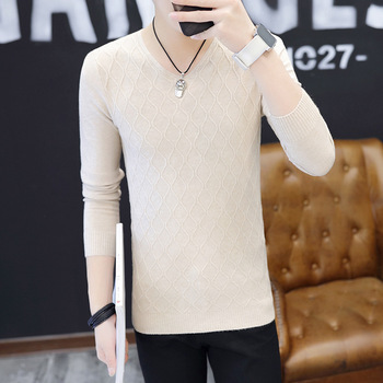 Clothes 2019 Classic Simplicity Pullover V-Neck Sweater Man Solid Long Sleeves regular Blown Teenagers mens Sweaters Polyester white v neck cold shoulder long sleeves sweaters