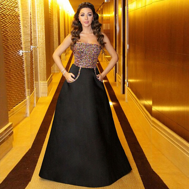 Sexy A Line Long Black Satin Prom Gown Strapless Colorful Crystal Beading Evening Dress For Wedding Party Custom Made