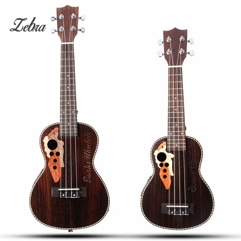 Zebra 21 23 4 Strings Electro Box Concert Ukulele Acoustic Musical Instrument Hawaii Guitar Guitarra With Built-in EQ Pickup