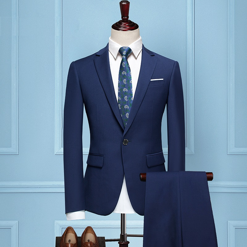 New Arrival Custom made Blue Tailcoat Men Suit Set Slim Wedding Suits Mens Blue Groom Tuxedos 2 Piece ( jacket+Pants+tie)