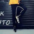 Новый 2016 Emoji Шаровары Женщины Кросс-Брюки Хип-Хоп Женские Брюки Брюки Плюс Размер Штаны Черный Хлопок Palazzo брюки