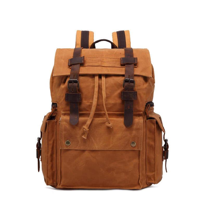 1db014e0544e ... Масло, воск натуральная мужской кожаный рюкзак для 15,6 дюйма мужской  рюкзак для ноутбука