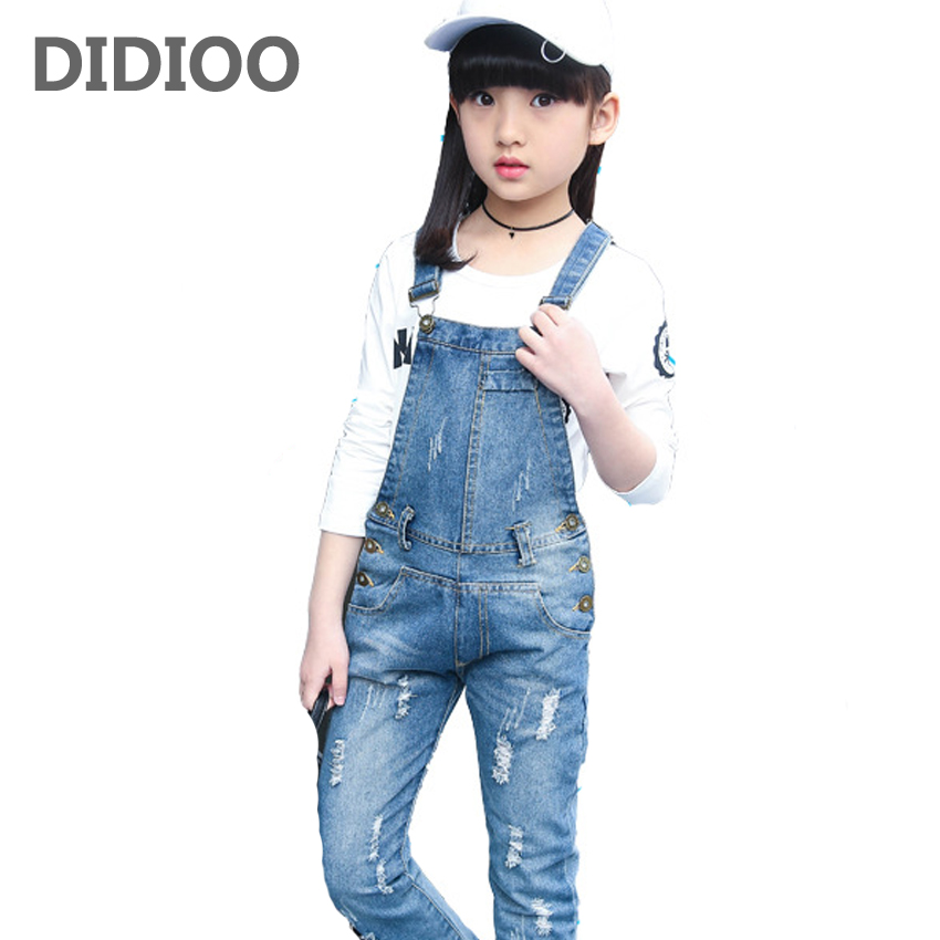 Denim Overalls High Quality Spring Children Clothing Girls Denim Jumpsuit Fashion Teenage Autumn Kids Pants for Girls 2T-14 free shipping 2018 jeans fashion plus size 24 30 pants for tall women high quality overalls jumpsuit and rompers denim trousers