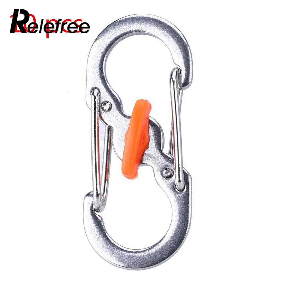 Relefree 10 pcs Outdoor Mini Portable 8-Shaped Stainless Steel Keychain Carabiner Slide Lock Clip Silver Multi Tool