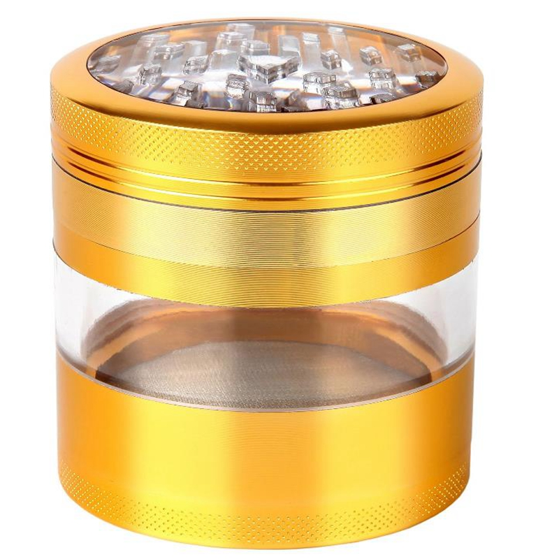 Big Transparent Layer Grinder 3.0 Inch Tall 2.5 Inch Diameter Herb Smoking Grinders Tobacco Cigarette Premium Crusher Grade