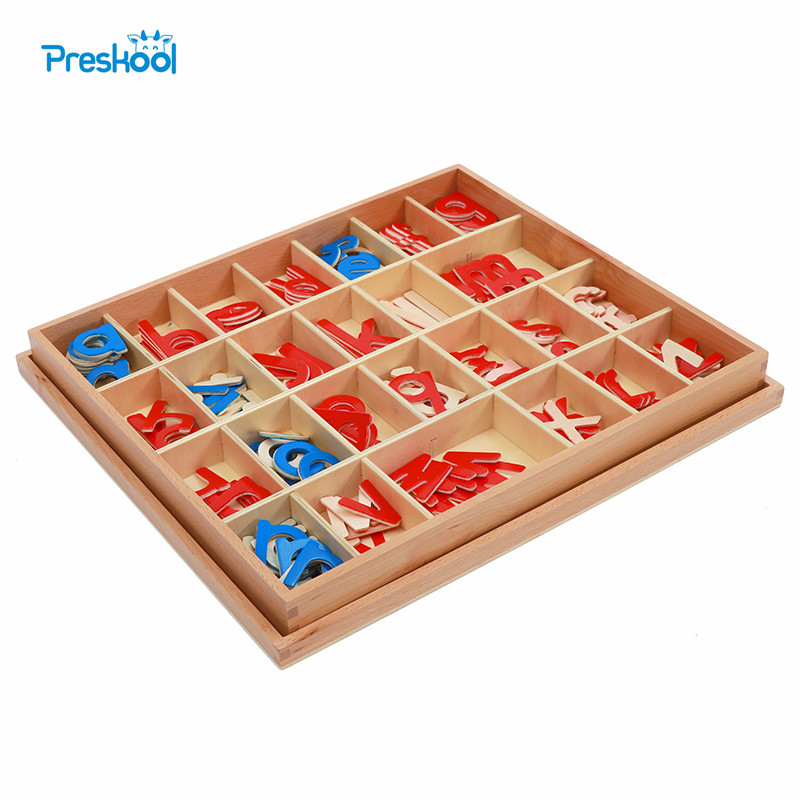 Baby Toy Montessori Wood Small Movable Alphabet Red & Blue with Box Preschool Early Child Brinquedos Juguetes ...