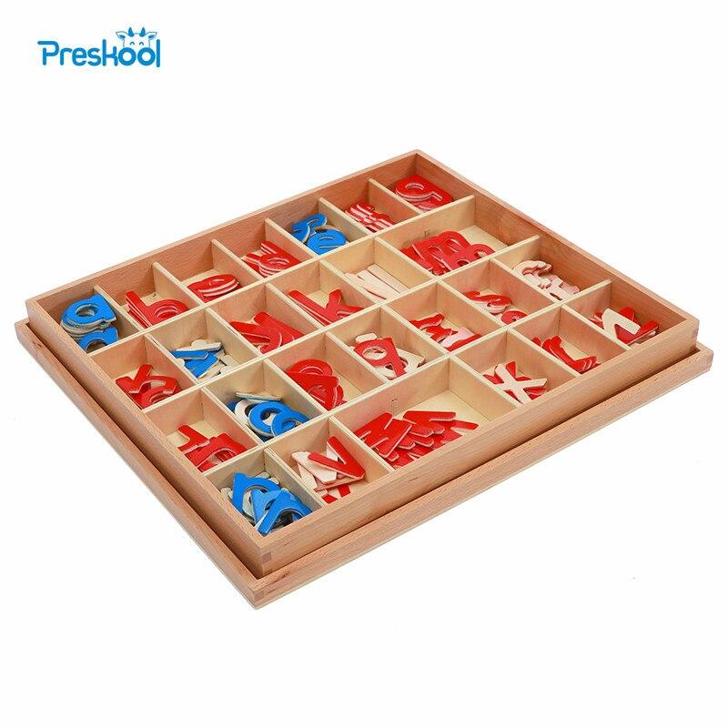 Jouet bébé Montessori bois petit Alphabet mobile rouge et bleu avec boîte préscolaire enfant précoce Brinquedos Juguetes