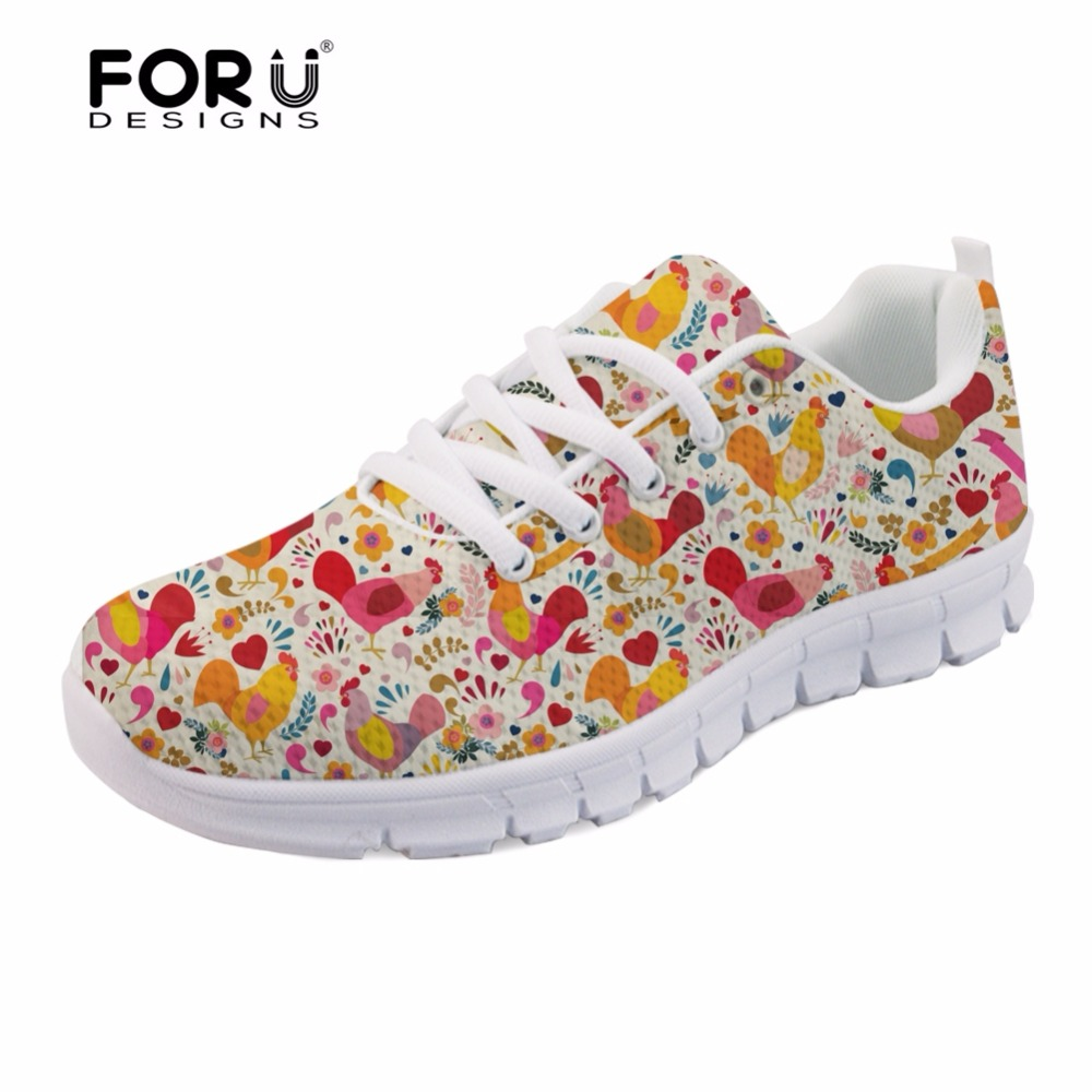 FORUDESIGNS Adorable Chicken Pattern Brand Designer Women Flats Shoes Casual Womens Sneakers Fashion Light Weight Shoes Woman