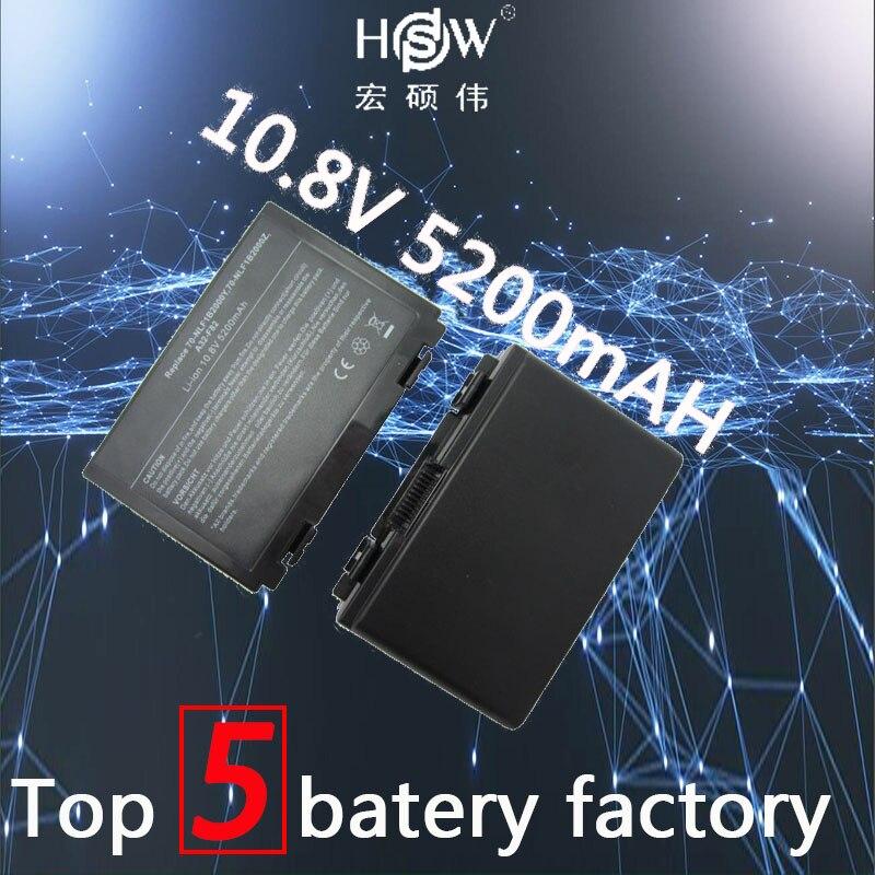 A HSW 5200 mah Bateria Do Laptop novo 6 Células de Bateria para Asus k50in K40 F82 A32 F52 K50 K60 L0690L6 a32-F82 k40in k40af k50ij