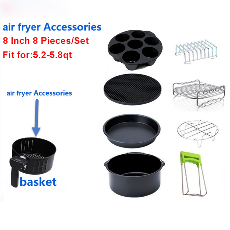 Best Sell Air Fryer Accessories, Air Fryer Accessories Set XL 8 Inch 20CM 8 Pieces, Fit Airfryer 5.2QT To 5.8QT