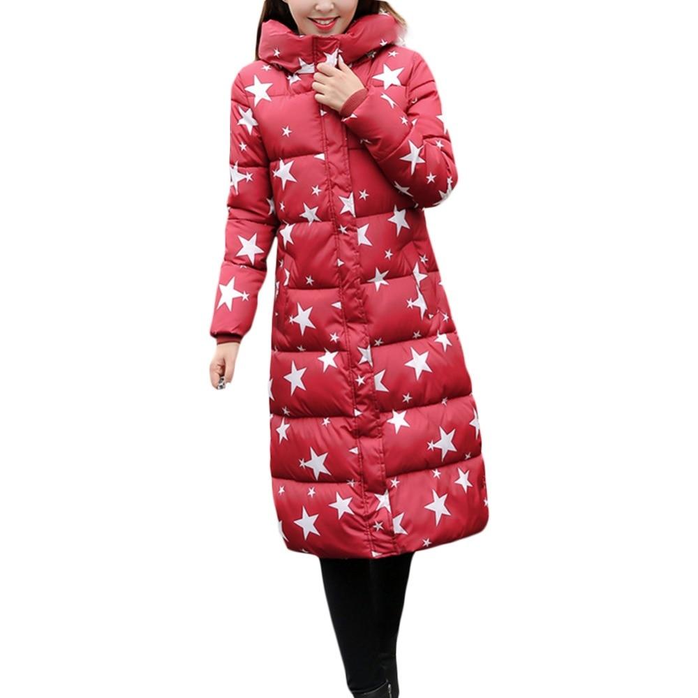 Aşağı parka baskı ceket kadın zarif Kore stil İnce X-uzun kalın sıcak ceketler casual fermuar kapşonlu tam kol mujer coat