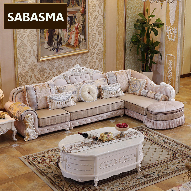 3 Pcs /new Arrviel High Grade Fabric L Shape Sofa With Ottoman Living Room  Furniture