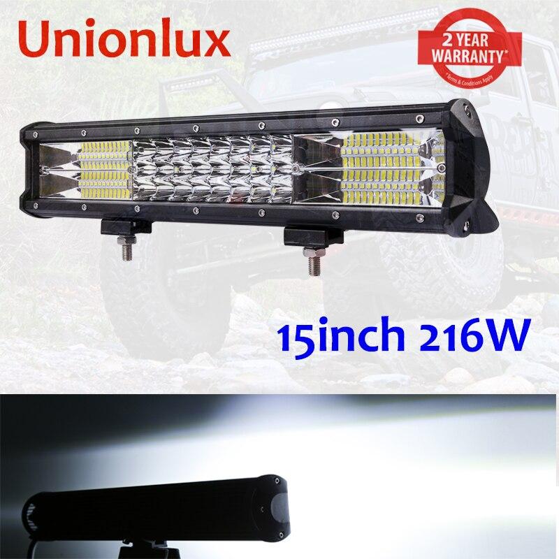 15 ''Trirow offre spéciale 7D 216 w barre de lumière LED pour Offroad 4x4 4WD Atv UTV Suv conduite moto camion léger lampe de travail LED