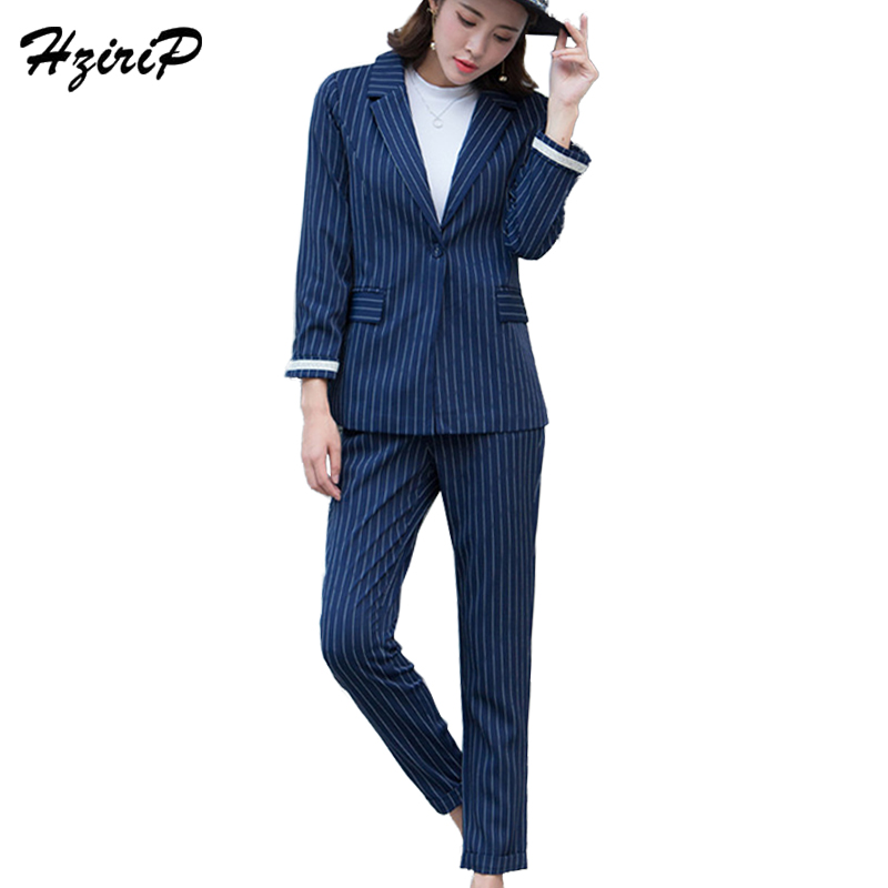 HziriP Streetwear Striped OL Women s Suits 2017 Autumn Office Lady Cotton Pantsuit For Women Slim
