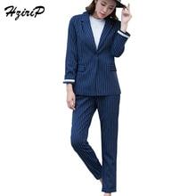 HziriP Streetwear Striped OL Women's Suits 2017 Autumn Office Lady Cotton Pantsuit For Women Slim Navy Camel Female Trouser Suit
