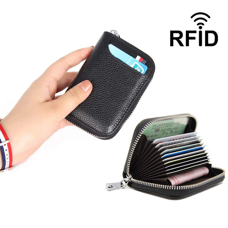 KANDRA Rfid Credit Card Holder Mini Wallet Women Men Fashion Genuine Leather Slim Zipper Wallet Business Card Holder Mini Bag in Card ID Holders from Luggage Bags