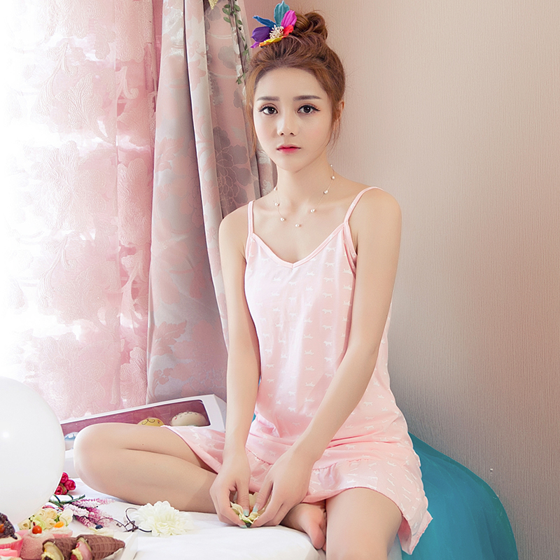 New Summer 100%Cotton Cartoon Women Sling Nightdress Casual Sexy Loose Big Size M-XXL Female   Nightgowns     Sleepshirts