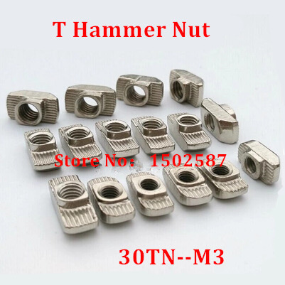 100pcs 30-M3 hammer nut M3 block t slot nuts for 3030 aluminum profile extrusion Slot 8mm