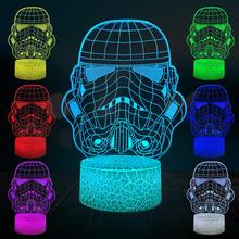 цена Cartoon Stormtrooper White Knight 3D Lamp LED USB Mood Star Night Light Multicolor Touch Remote Change Table Desk Gift Kid онлайн в 2017 году