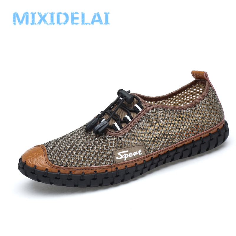 MIXIDELAI Summer Men Casual shoes Hollow Mesh Breathable Handmade shoes Large size Soft Slip-On Loafers Male Flats Driving shoes fonirra men casual shoes 2017 new summer breathable mesh casual shoes size 34 46 slip on soft men s loafers outdoors shoes 131